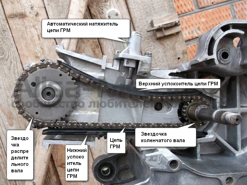 Устройство в разрезе механизма натяжения цепи ГРМ скутера